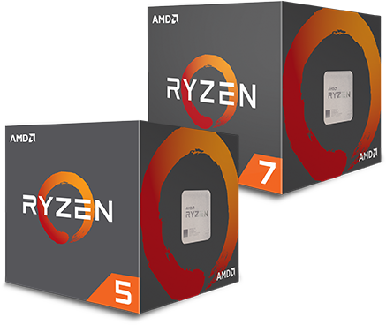 Two AMD Ryzen boxes, with Ryzen 5 and Ryzen 7 on the sides.