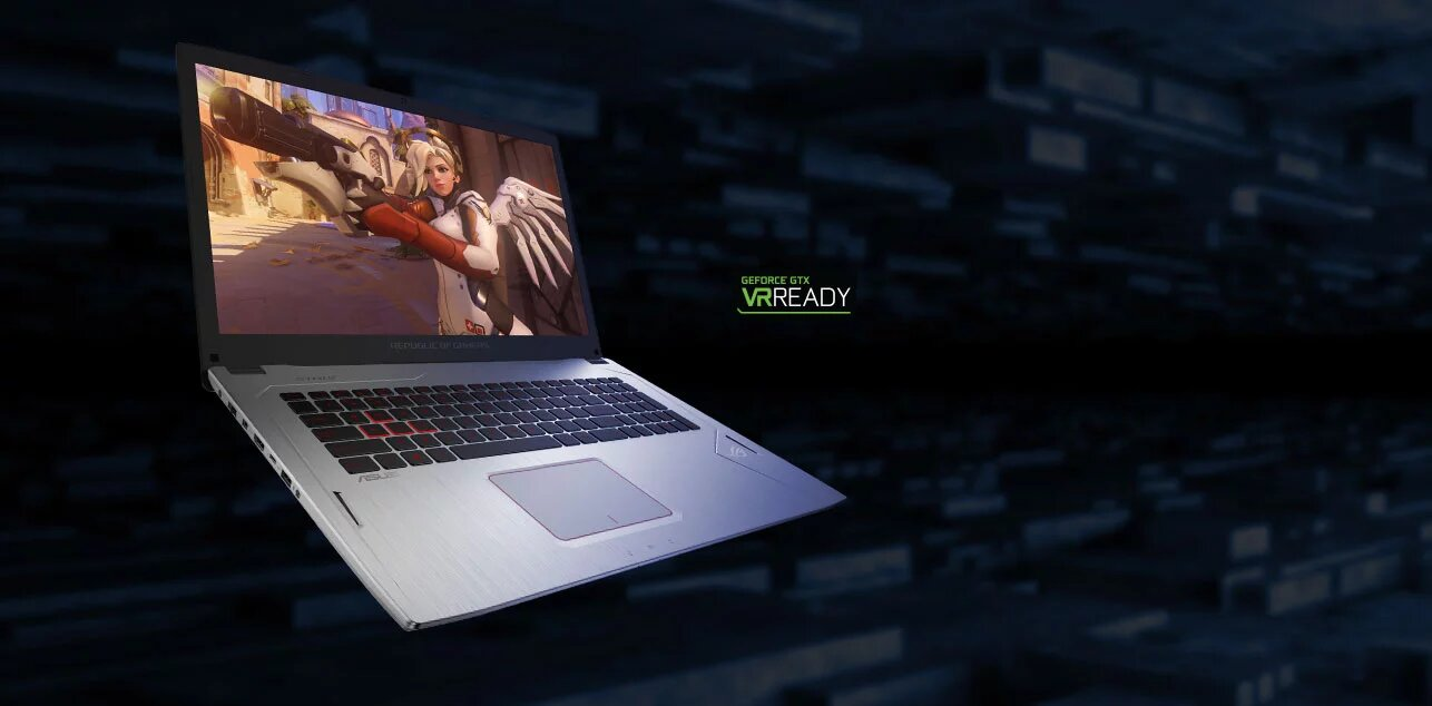 Image of ASUS laptop. GeForce GTX VR Ready logo.