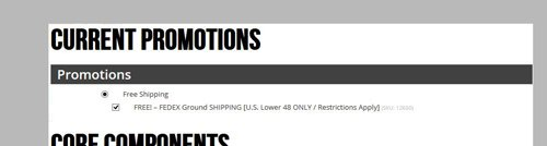 Image showing configuration page with Free Shipping option selected.
