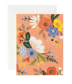 Coral Lively Florals Card