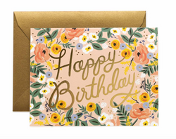 Floral Foil Happy Birthday Card