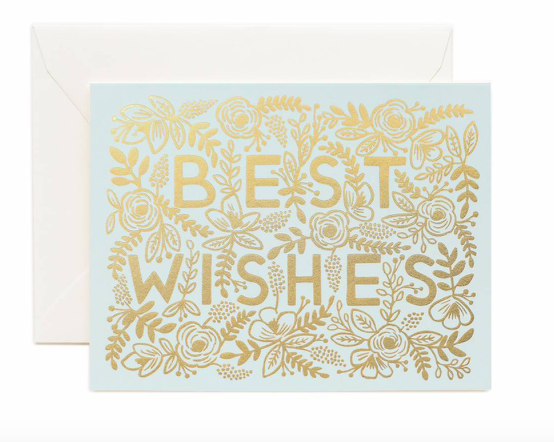 Gold Floral Best Wishes Card