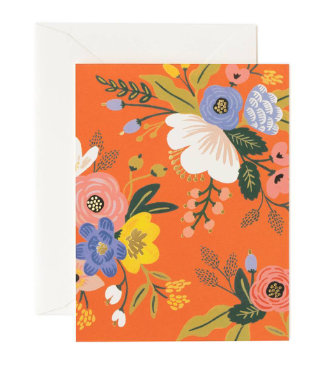 Orange Lively Florals Card