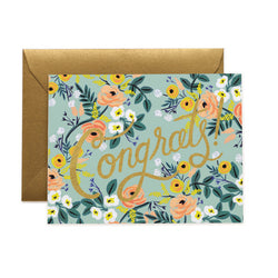Gold & Floral Congrats Card