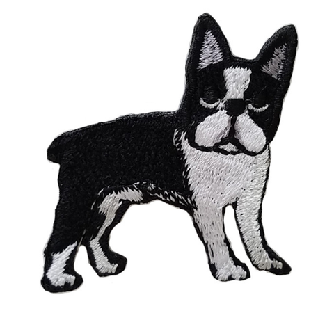 Boston Terrier Iron-On Embroidered Patch