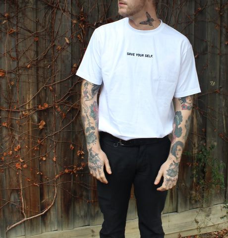 Save Yourself Signature S/S Tee - White With Black