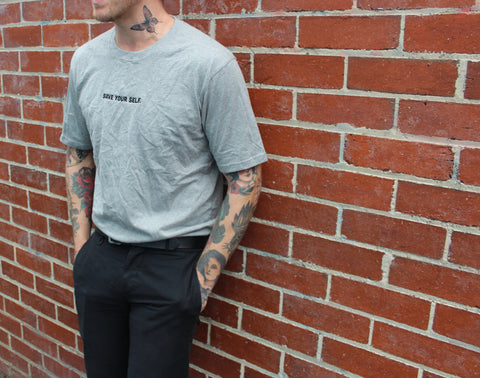 Save Yourself Signature S/S Tee - Grey Marle With Black
