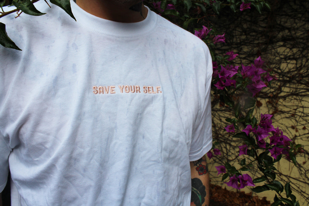 Save Yourself Signature Tee - White with Pink