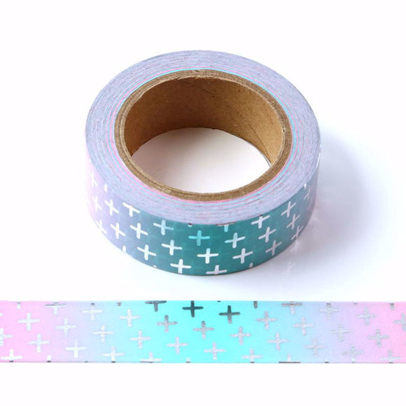 Washi | Silver Foil Plus Signs on Blue/Pink
