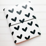 6x8 Traveler's Notebook | Black Hearts
