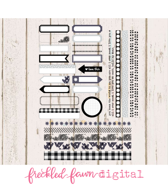 Printable Ephemera | Black/White Labels + Washi