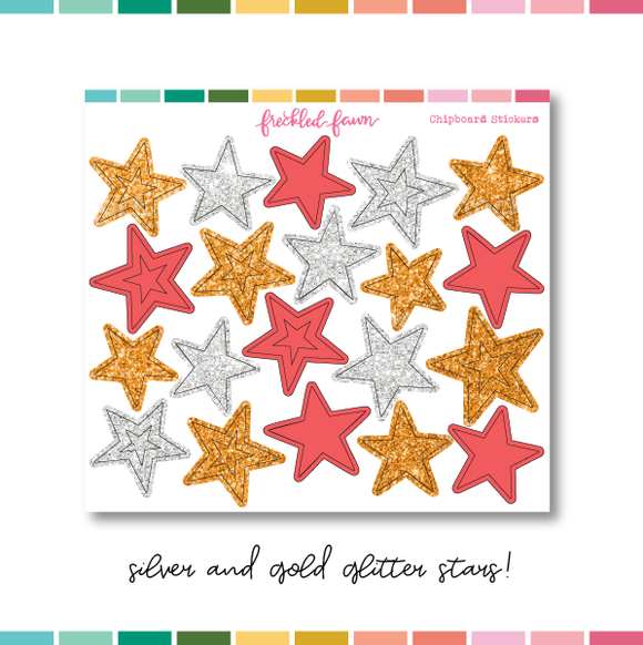 MAR21 | Glitter Chipboard Stickers