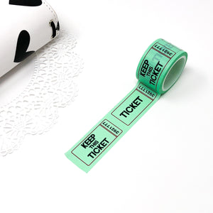 Washi | Wide Mint Vintage Ticket