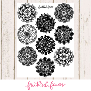 Printable Elements | 4 Inch Black Doilies
