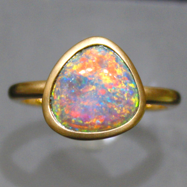 Handmade Yellow Gold Black Opal Ring