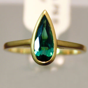 Handmade Yellow Gold Ring set with Tourmaline