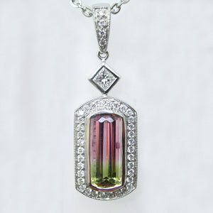 Beautiful White Gold Watermelon Tourmaline and Diamond Pendant
