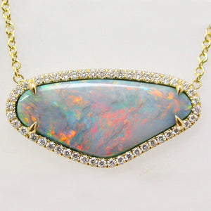 Handmade Yellow Gold Black Opal and Diamond Necklace