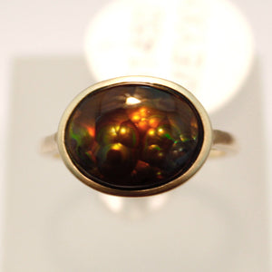 Handmade Yellow Gold Fire Agate Ring