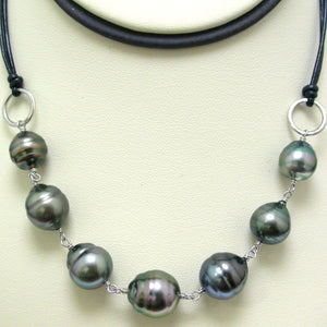 Sterling Silver and Leather Tahitian Pearl Necklace