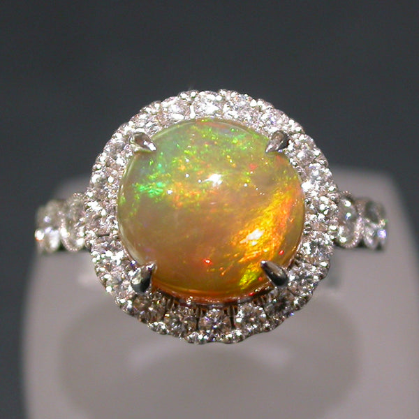 White Gold Ring set with anEthiopian Opal and Diamonds