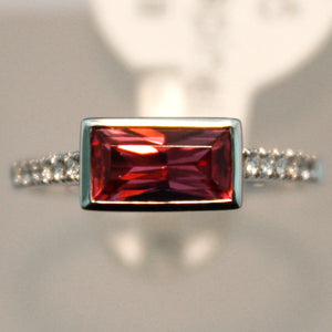 White Gold Raspberry Spinel Ring w/ Diamond Band