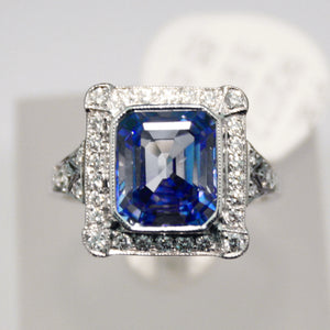 Stunning Platinum Blue Sapphire and Diamond Ring