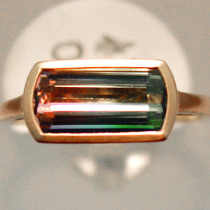 Fabulous Handmade Rose Gold Bi-Colored Tourmaline Ring