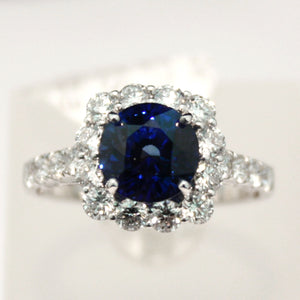 Incredible White Gold Blue Sapphire Ring set in Diamonds