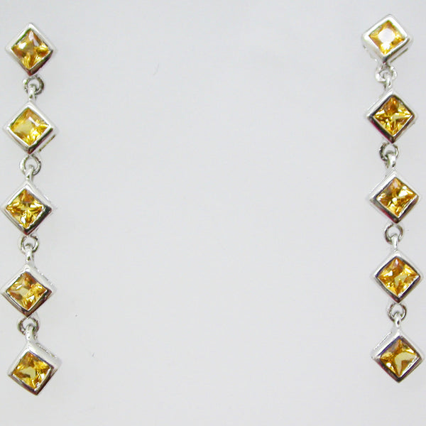 Sterling Silver and Natural Yellow Sapphire Earrings