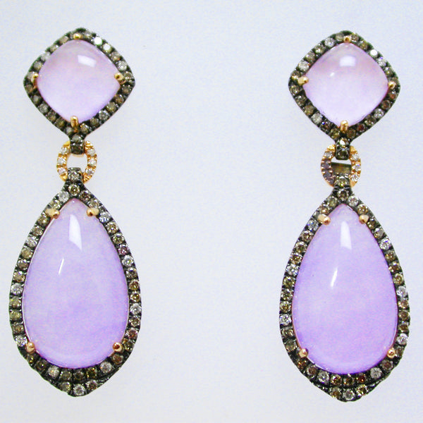 18K Yellow Gold Lavender Jade and Diamond Earrings