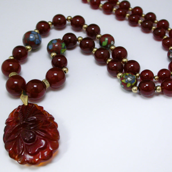 14K Yellow Gold and Carnelian Bead Necklace