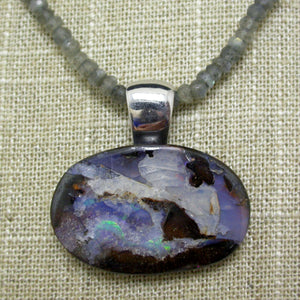Sterling Silver Boulder Opal and Labradorite Necklace