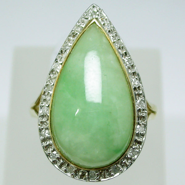 14K Yellow Gold Mint Jade Ring
