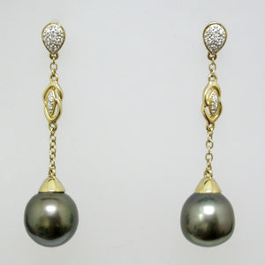 14K Yellow Gold Tahitian Pearl and Diamond Earrings