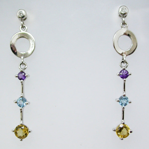 14K White Gold Amethyst, Citrine and Blue Topaz Earrings