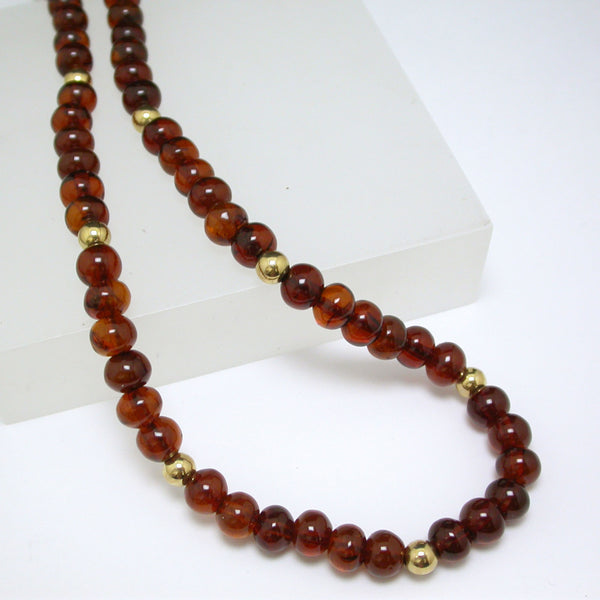 14K Yellow Gold and Red Chiapas Amber Necklace