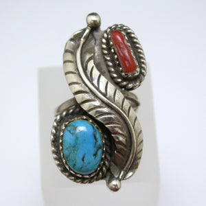 Vintage Sterling Silver Coral and Turquoise Ring