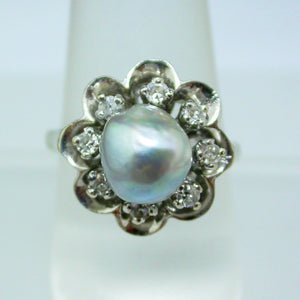 Vintage 14K White Gold Black Baroque Pearl and Diamond Ring