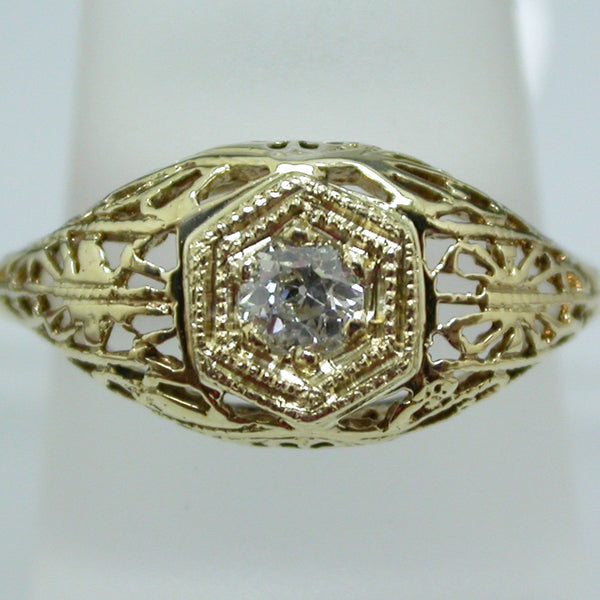 Vintage 14K Yellow Gold Diamond Ring circa 1920's