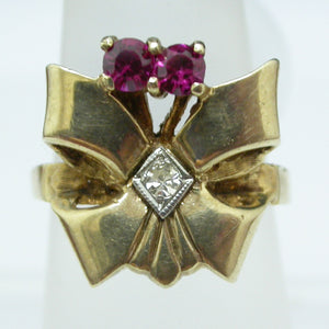 Vintage 10K Yellow Gold Bow Ring