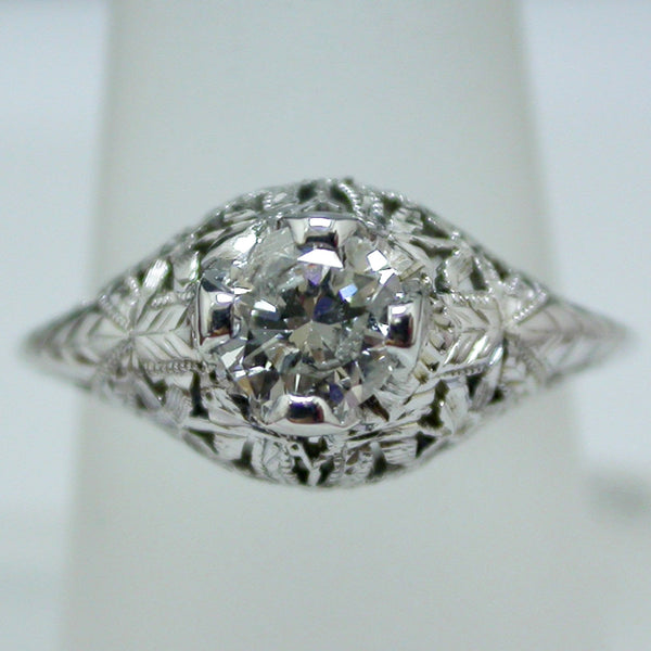 Vintage 18K White Gold Diamond Ring circa 1930