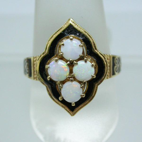 Vintage 10K Yellow Gold, Opal and Black Enamel Ring