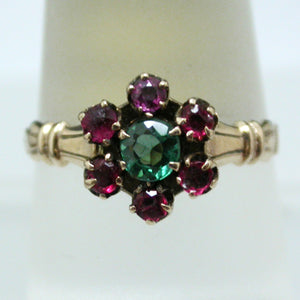Vintage 10K Yellow Gold, Ruby and Emerald Ring