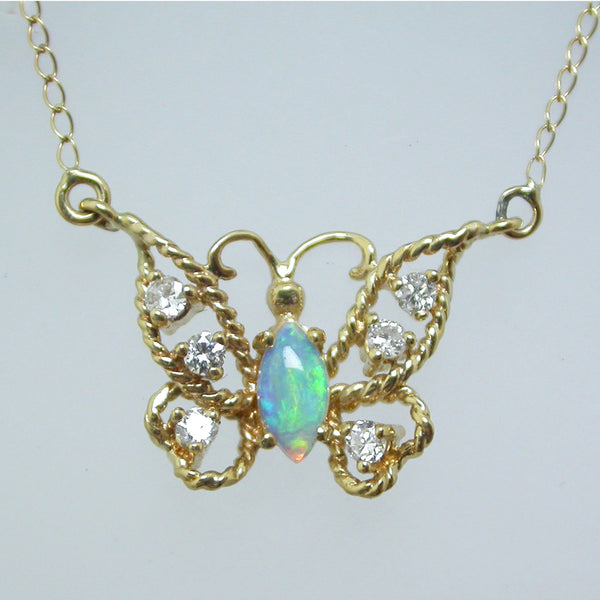 Vintage 14K Yellow Gold Diamond and Opal Butterfly Necklace