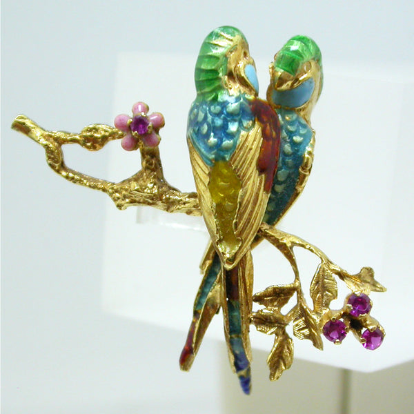 18K Yellow Gold Ruby and Enamel Brooch Circa 1950