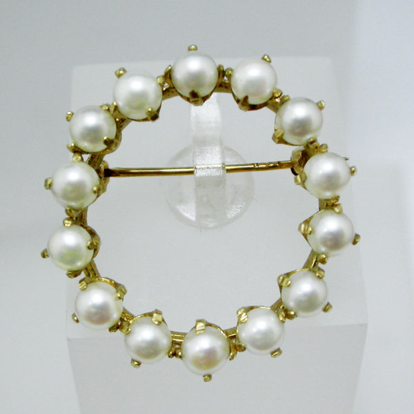 14K Yellow Gold and Pearl Brooch