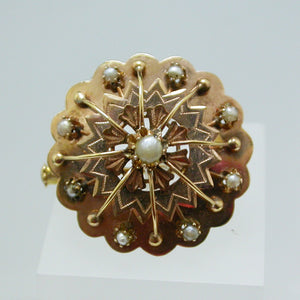 18K Yellow Gold and Seed Pearl Brooch