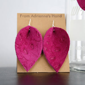 Handmade Fuchsia Pattern Leather Earrings