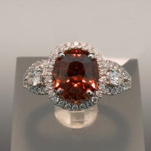 14K White Gold Copper Zircon and Diamond Ring